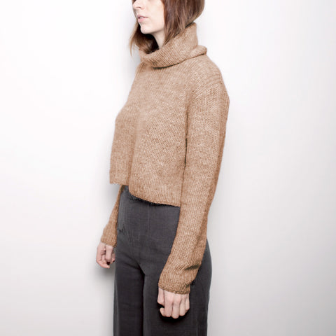 Mohair Turtleneck Cropped Sweater - Camel FW16