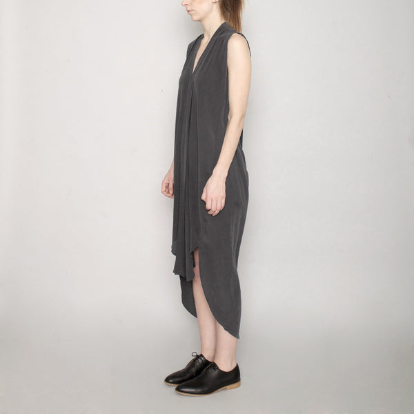 Signature Origami Silk Dress-Stone Gray