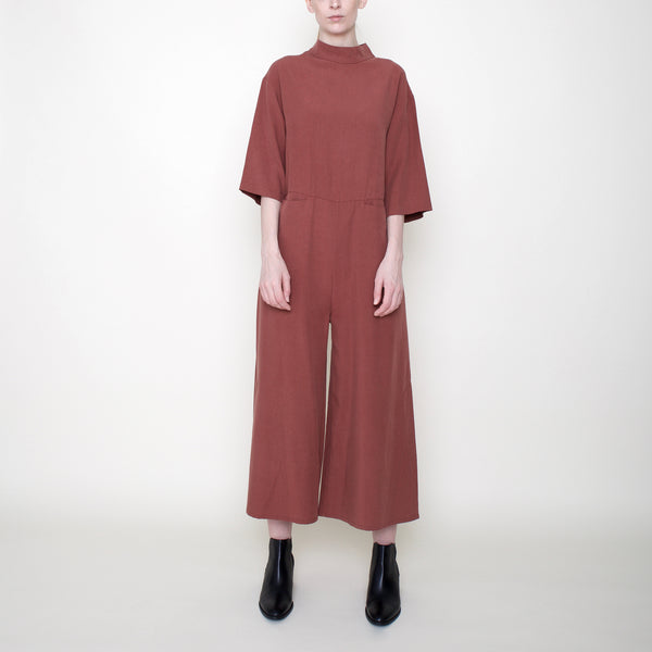 Mock-Neck Jumpsuit - Brick - FW18