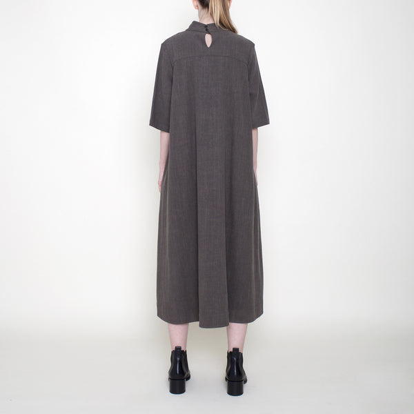 Mock-Neck Square Hem Dress - Deep Olive - FW18