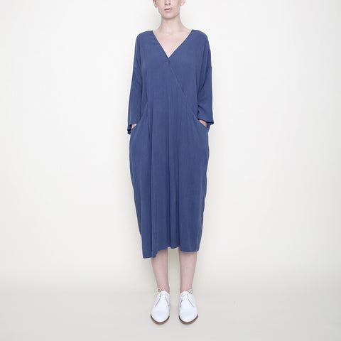 Pockets Midi Wrapdress - Blue - SS18