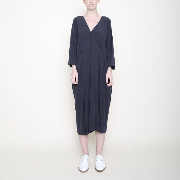 Pockets Midi Wrapdress - Charcoal - SS18