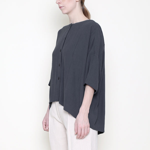 Mid-Sleeves Spring Button Down - Charcoal - SS18