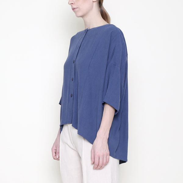 Mid-Sleeves Spring Button Down - Blue - SS18