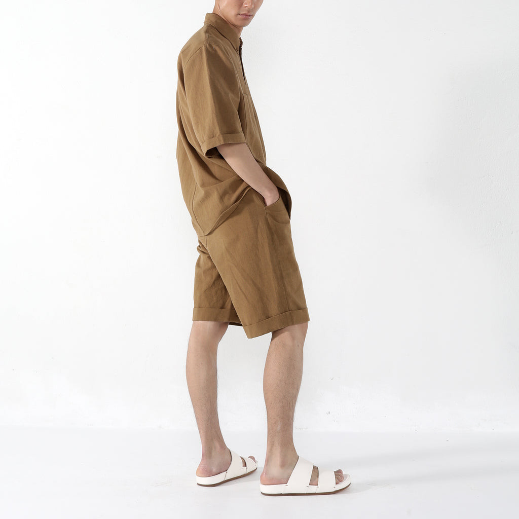 Unisex Double Pocket Shirt - Caramel