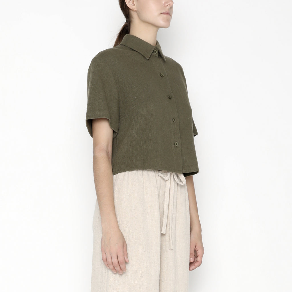 Cropped Button Down - SS20 - Olive