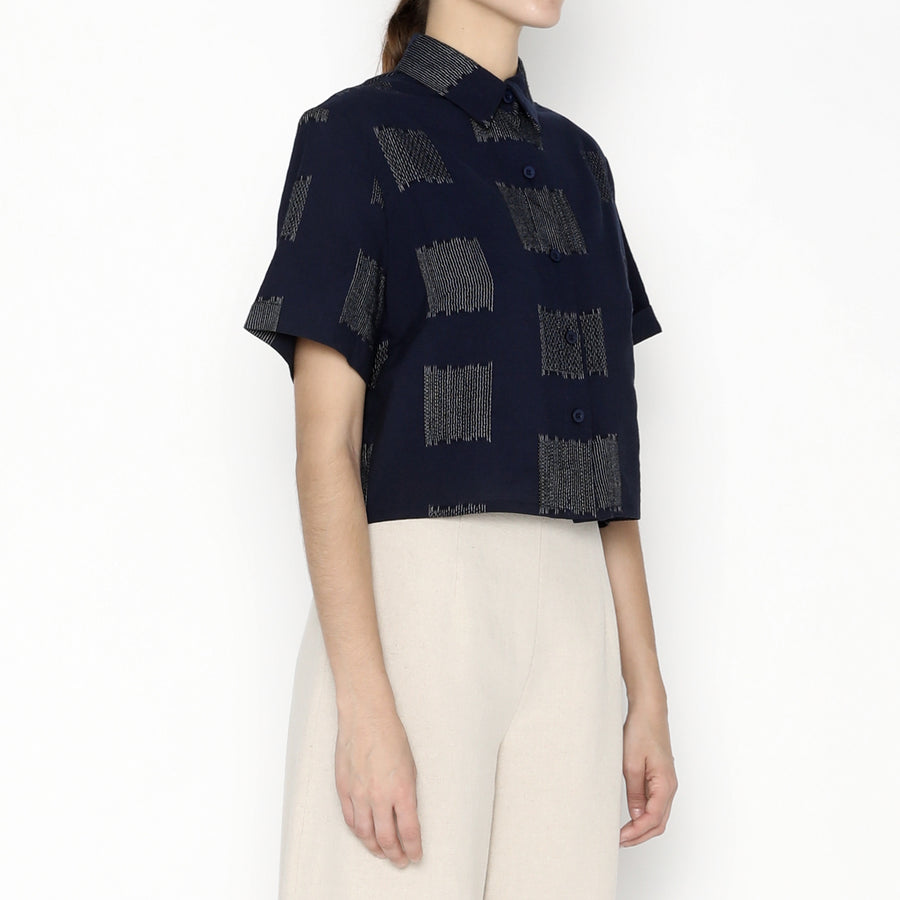 Cropped Button Down - Square - SS20 - Navy