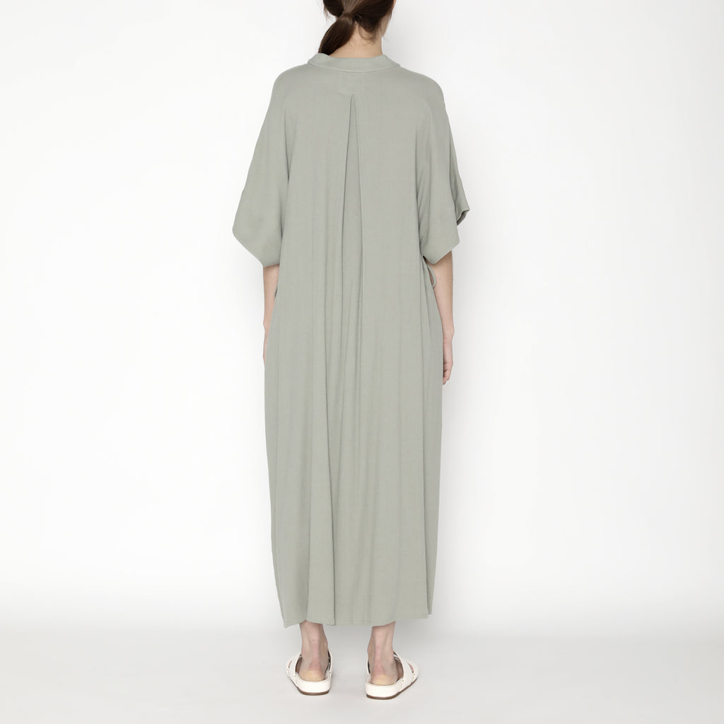 Mandarin V-Neck Dress - SS20 - Teal Gray