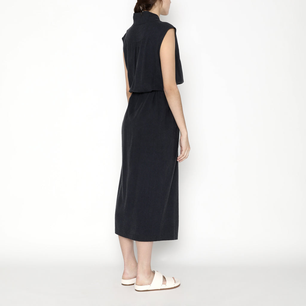 Karate Vest-Dress - Silk - SS20 - Navy