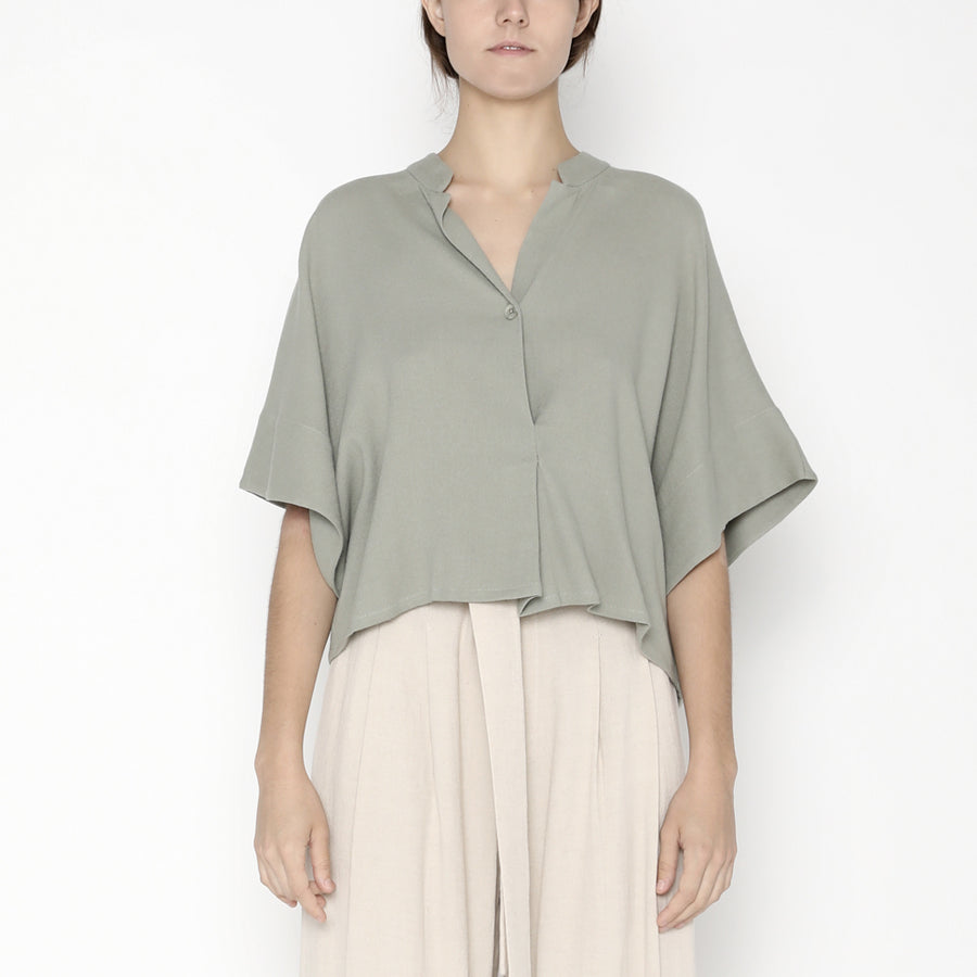 Mandarin V-Neck Top - SS20 - Teal Gray