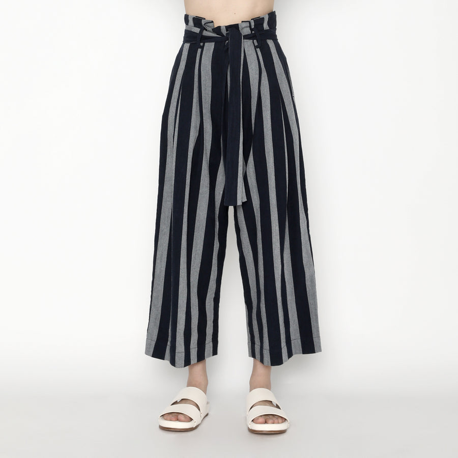 Pleated Trouser - Stripe - SS20 - Dark Stripe