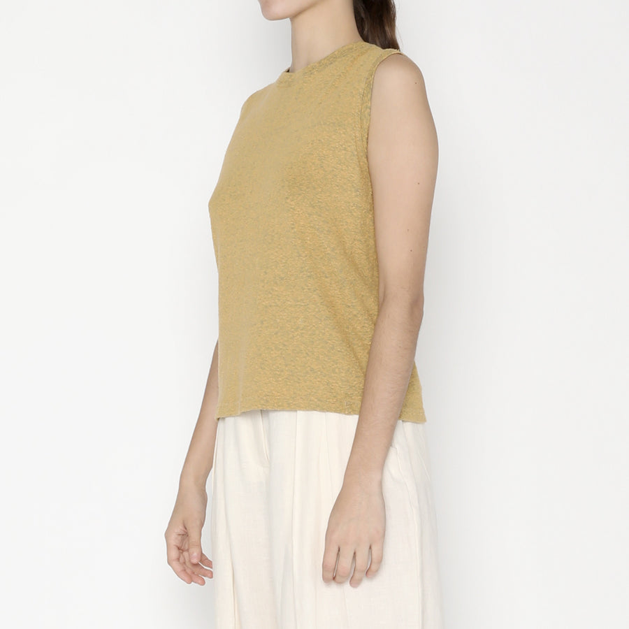 Linen Textured Tank Tee - SS20 - Cadmium Yellow