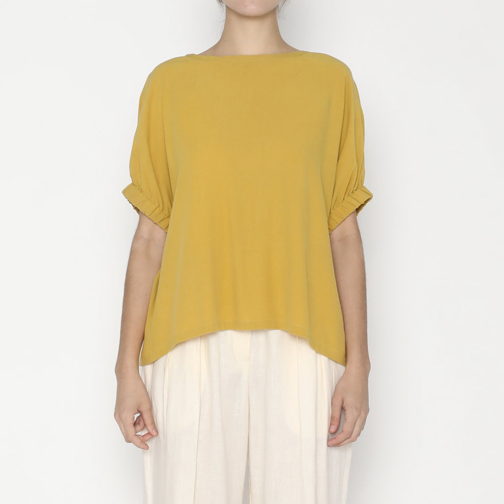 Shirred Cuff Top - SS20 - Mustard