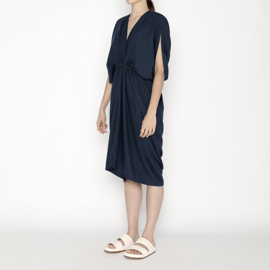 Signature Raw Silk 4-Ways Dress - Navy