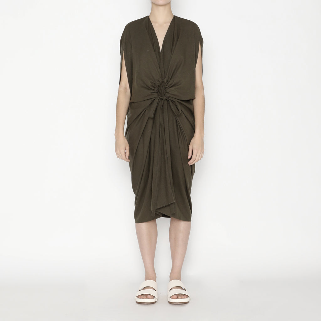 Signature Raw Silk 4-Ways Dress - Olive