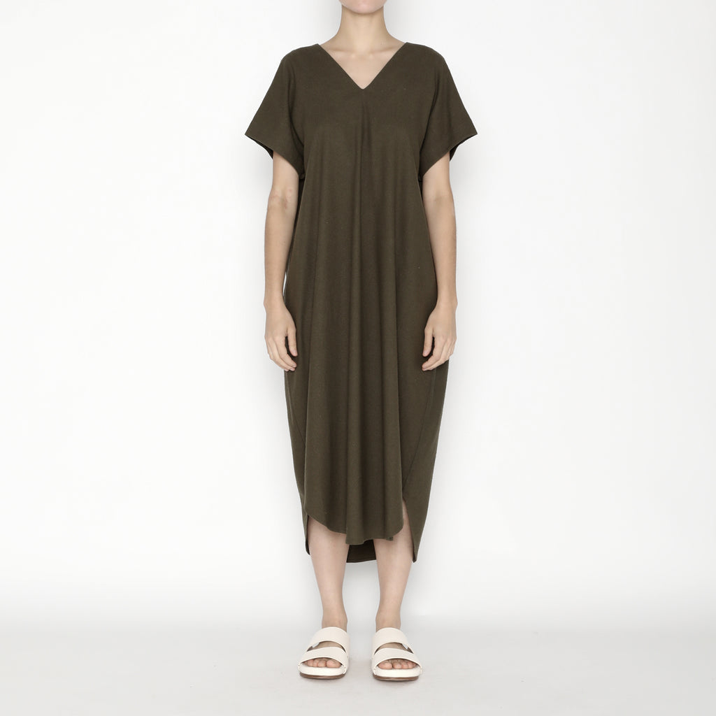 Signature Raw Silk T-Shirt Reversible Maxi - Olive