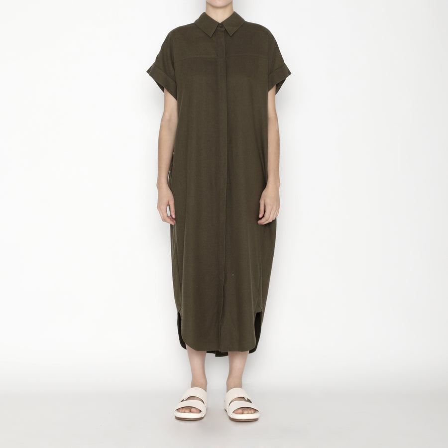 Signature Raw Silk Maxi Shirtdress - Olive