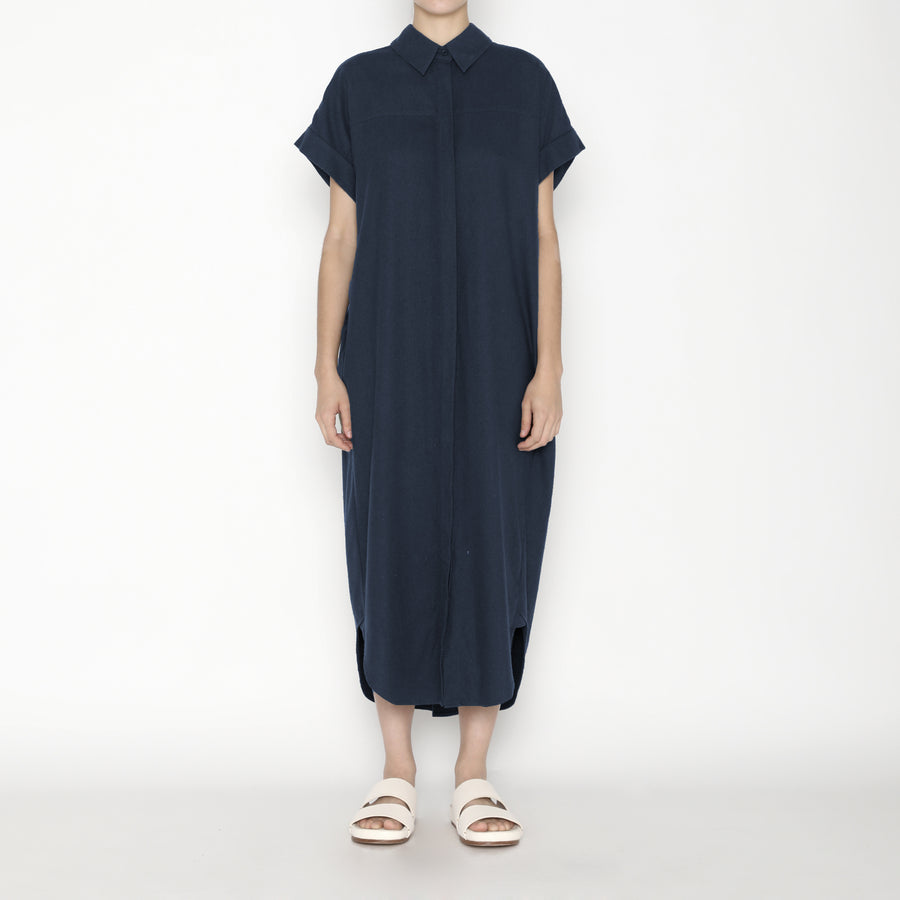 Signature Raw Silk Maxi Shirtdress - Navy
