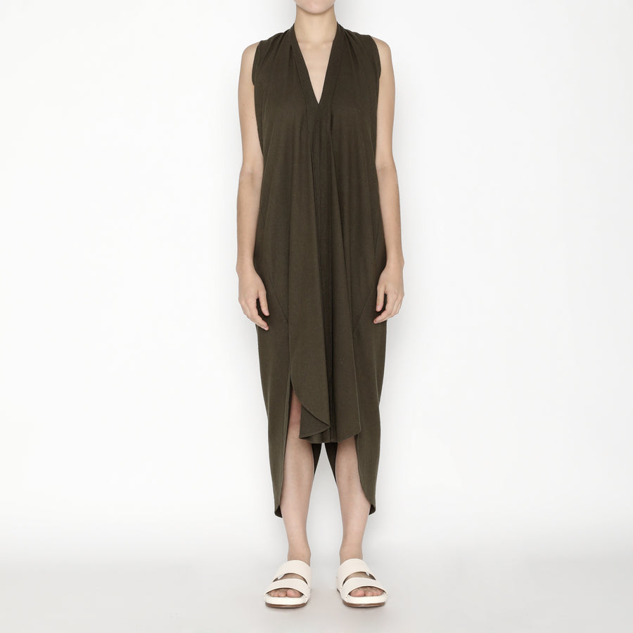 Signature Raw Silk Origami Dress - Olive