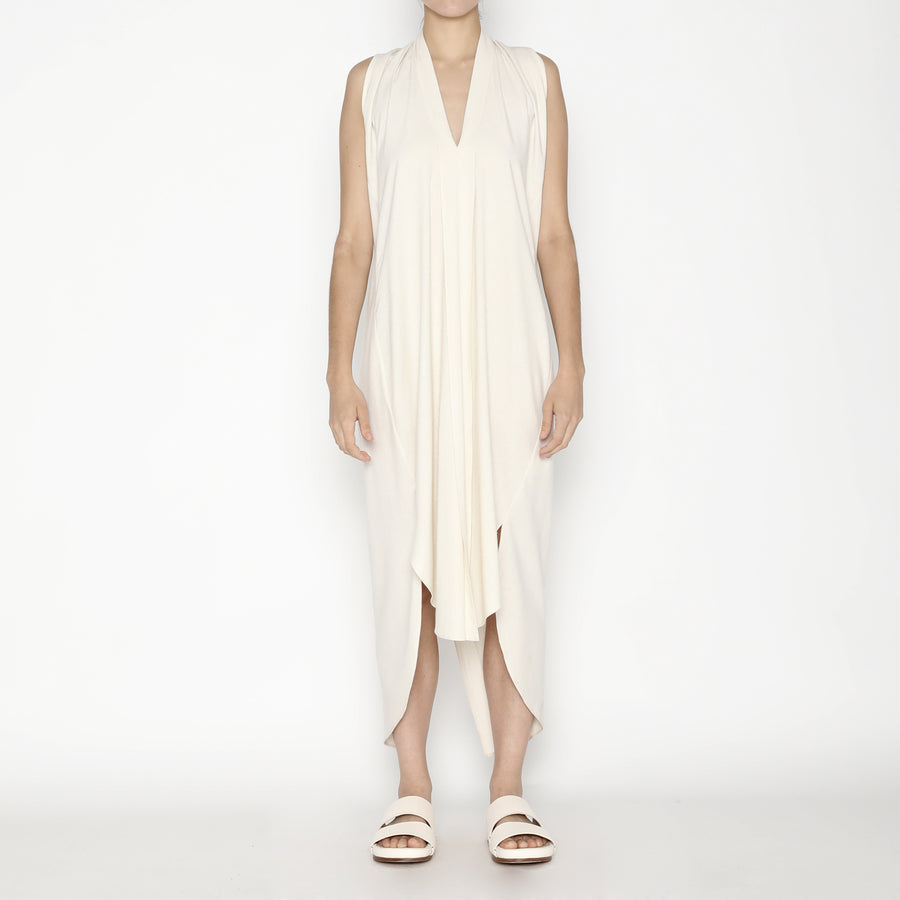 Signature Raw Silk Origami Dress - Off-White