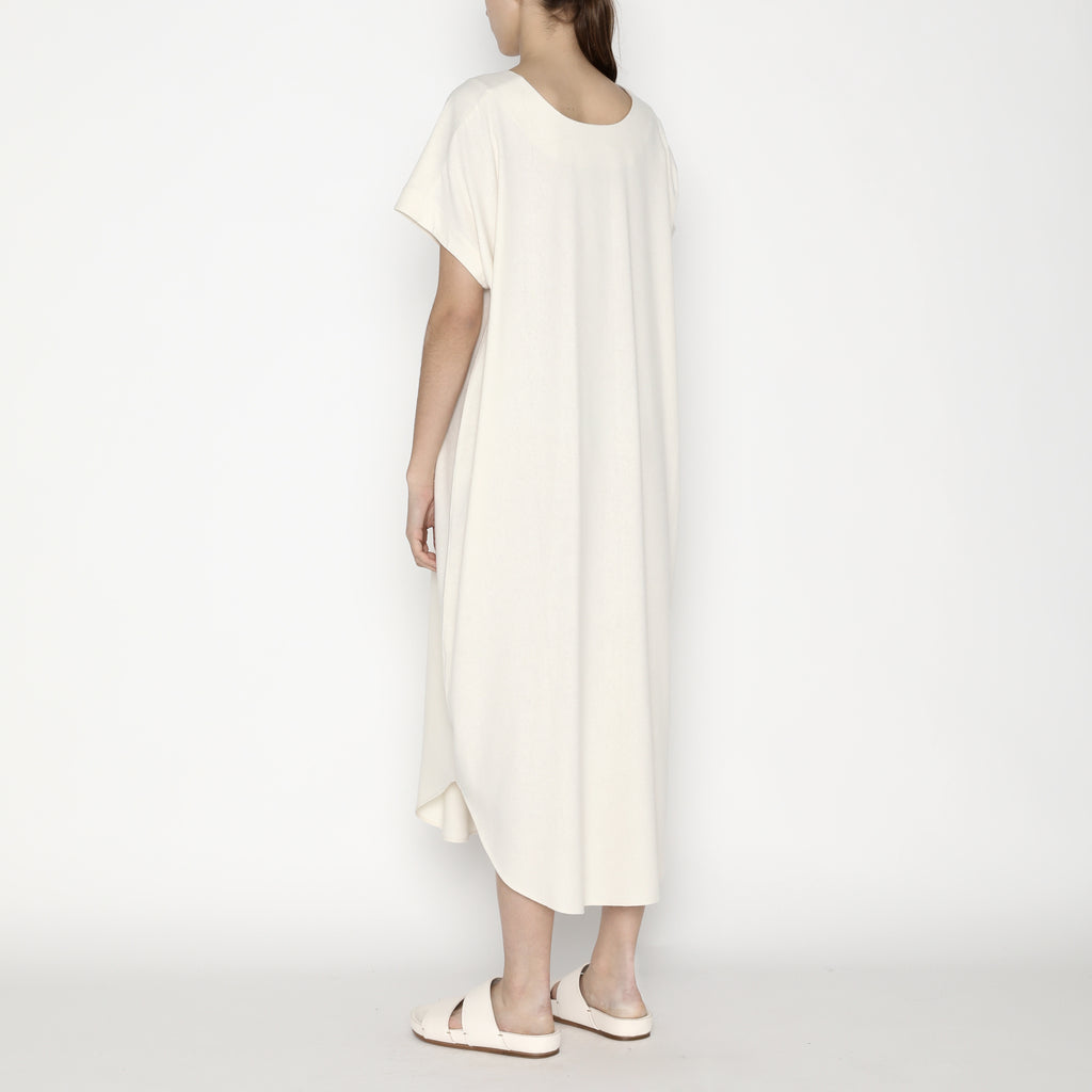 Signature Raw Silk T-Shirt Reversible Maxi - Off-White