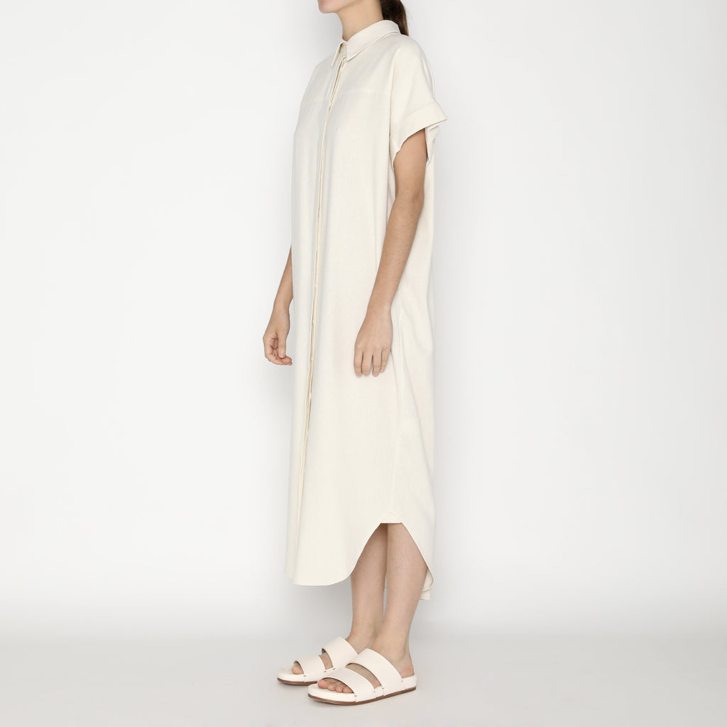 Signature Raw Silk Maxi Shirtdress - Off-White