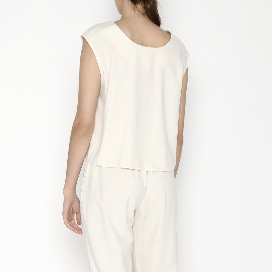 Signature Raw Silk Reversible Tank - Off-White
