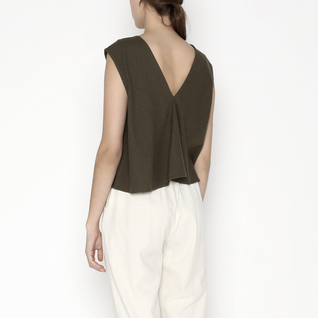 Signature Raw Silk Reversible Tank - Olive