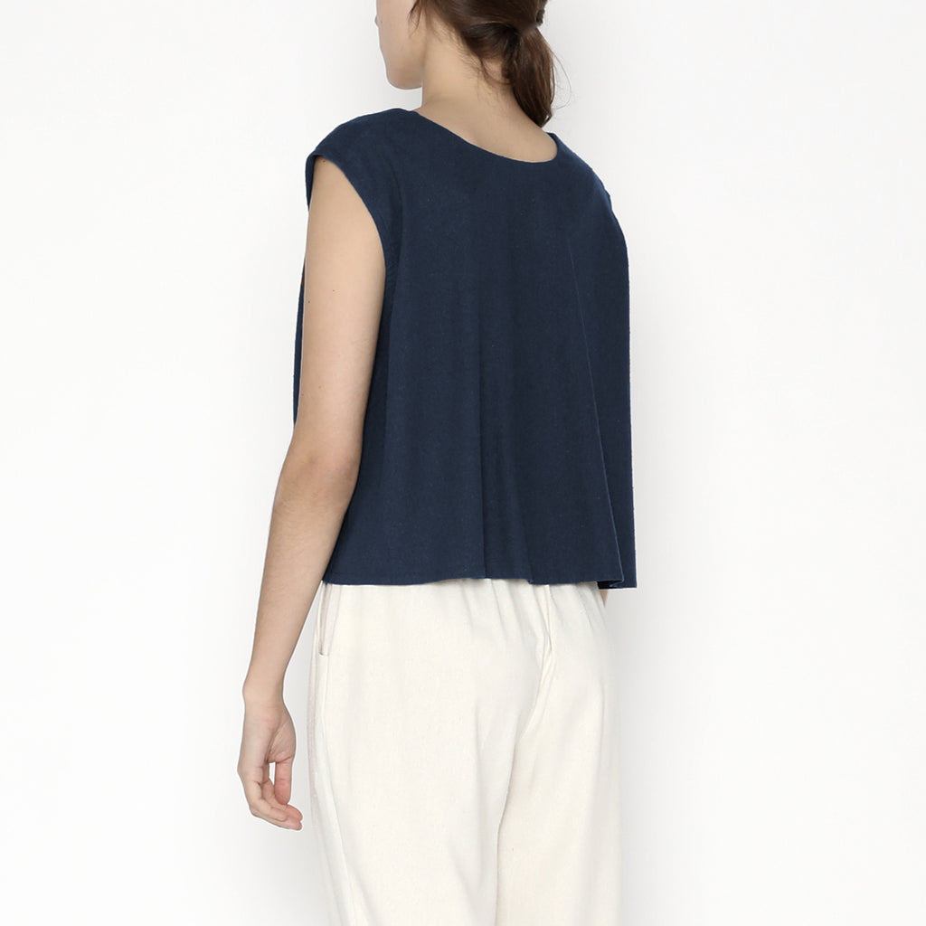 Signature Raw Silk Reversible Tank - Navy