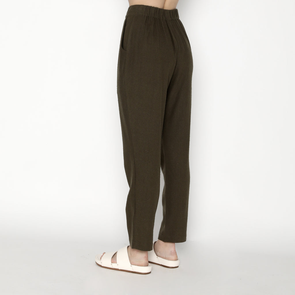 Signature Raw Silk Relaxed Tapering Trouser - Olive