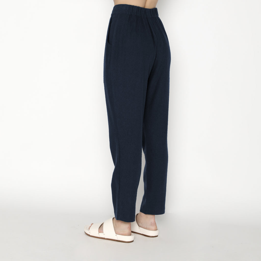 Signature Raw Silk Relaxed Tapering Trouser - Navy