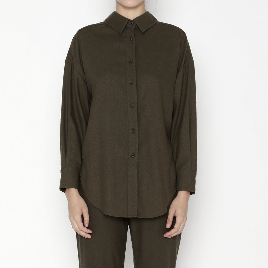 Signature Raw Silk Dolman Shirt - Olive