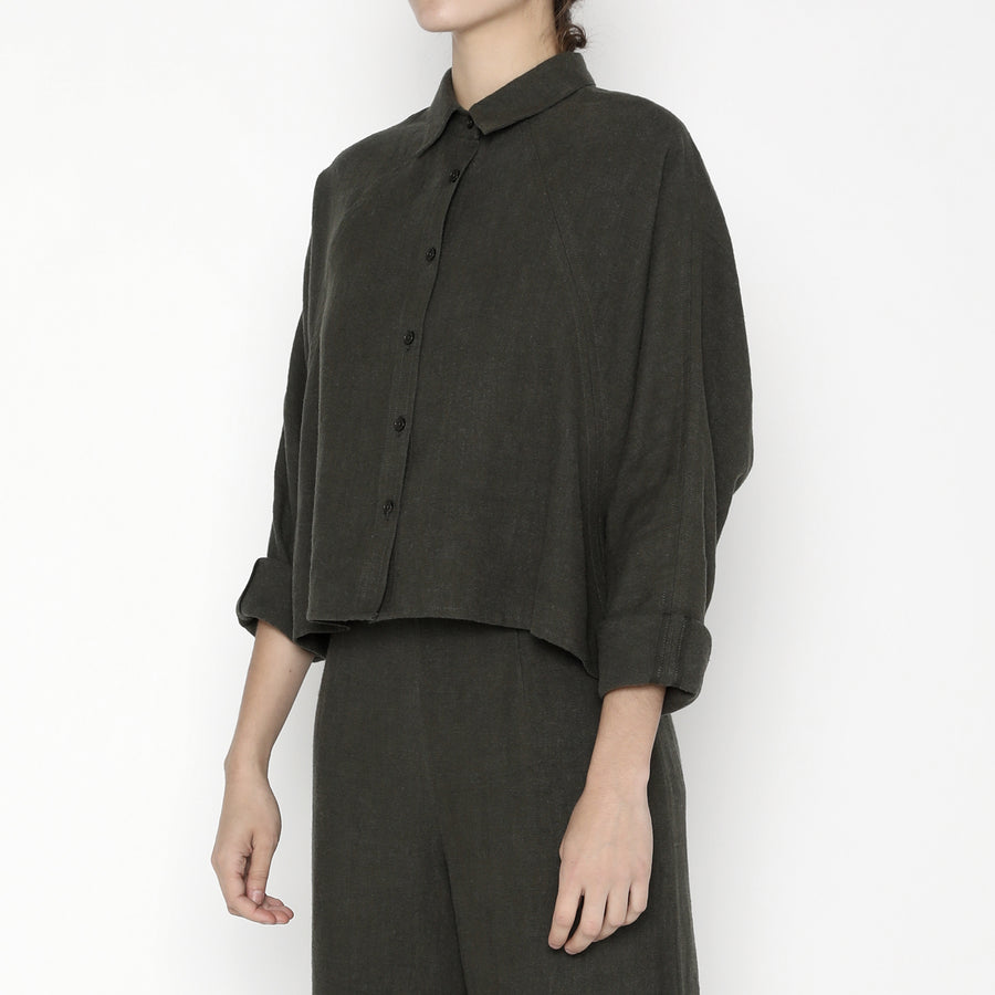 Signature Ramie 3/4 Cropped Shirt Jacket - Olive