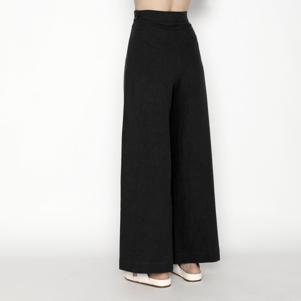 Signature Ramie Wide-Legged Trouser - Black