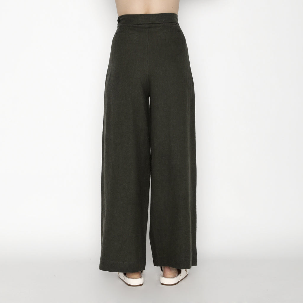 Signature Ramie Wide-Legged Trouser - Olive