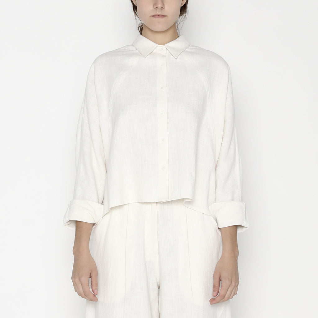 Signature Ramie 3/4 Cropped Shirt Jacket - Off-White