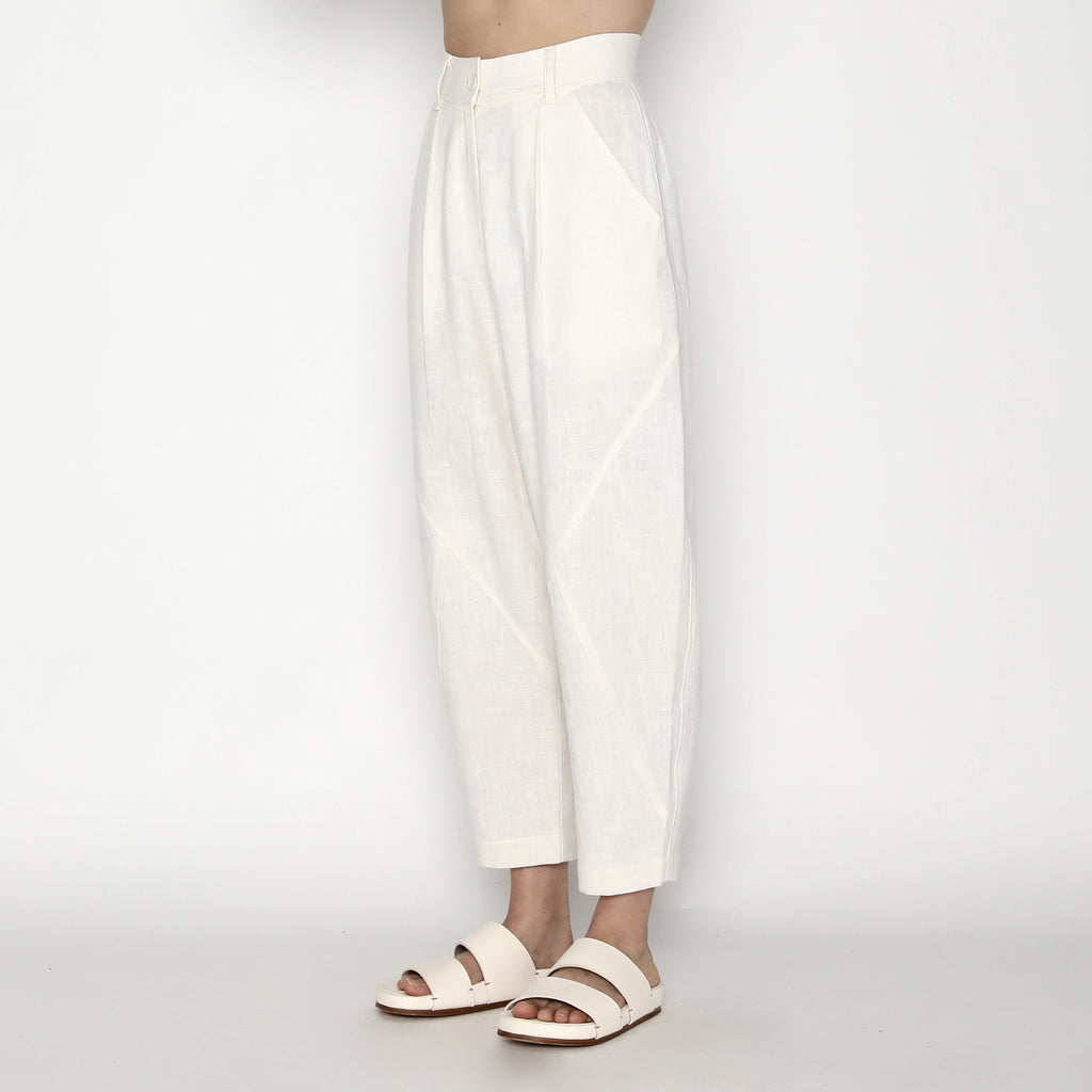 Signature Ramie Lantern Trouser - Off-White