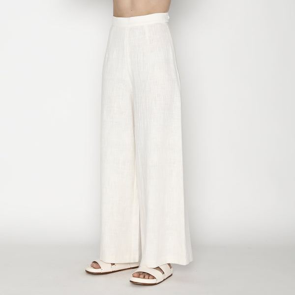 Signature Ramie Wide-Legged Trouser - Off-White