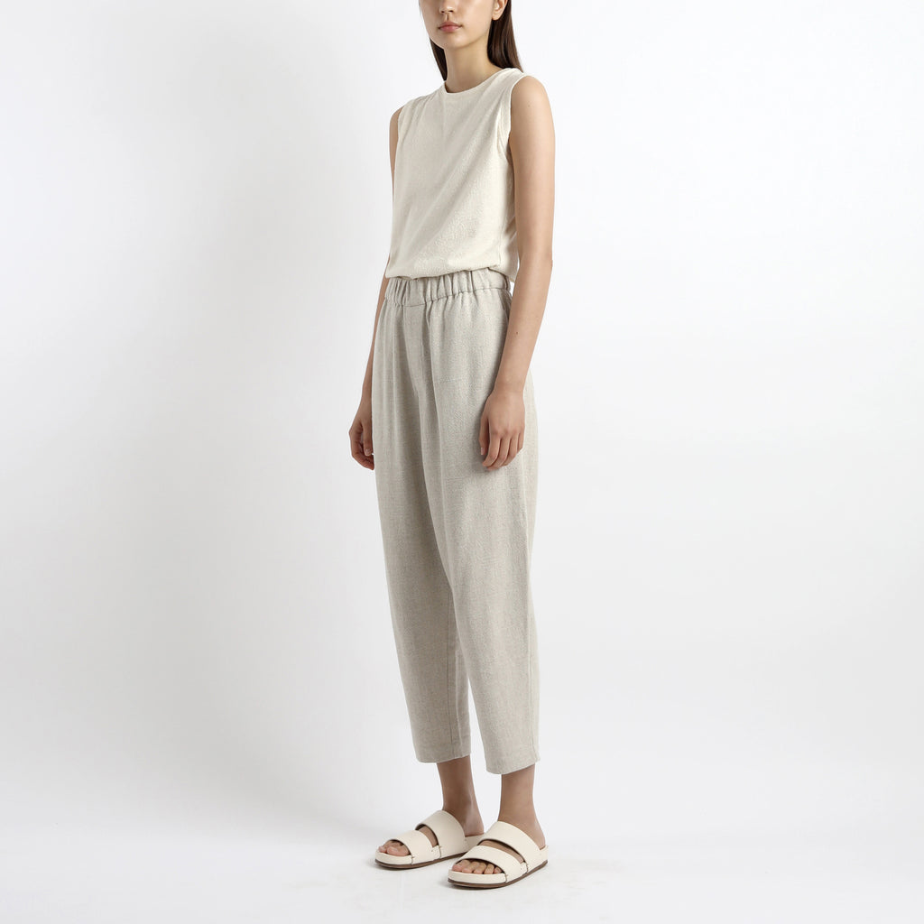 Signature Textured Linen Tank - Off-White