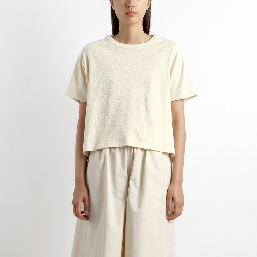 Signature Textured Linen Tee - Off-White