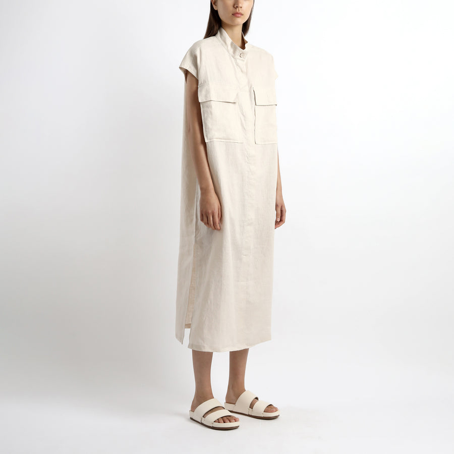Double Pockets Shirt Maxi - SS21 - Sand