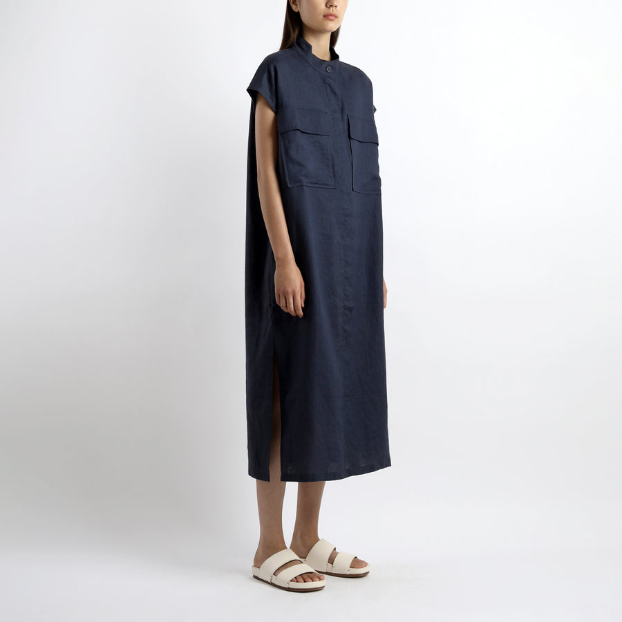 Double Pockets Shirt Maxi - SS21 - Navy