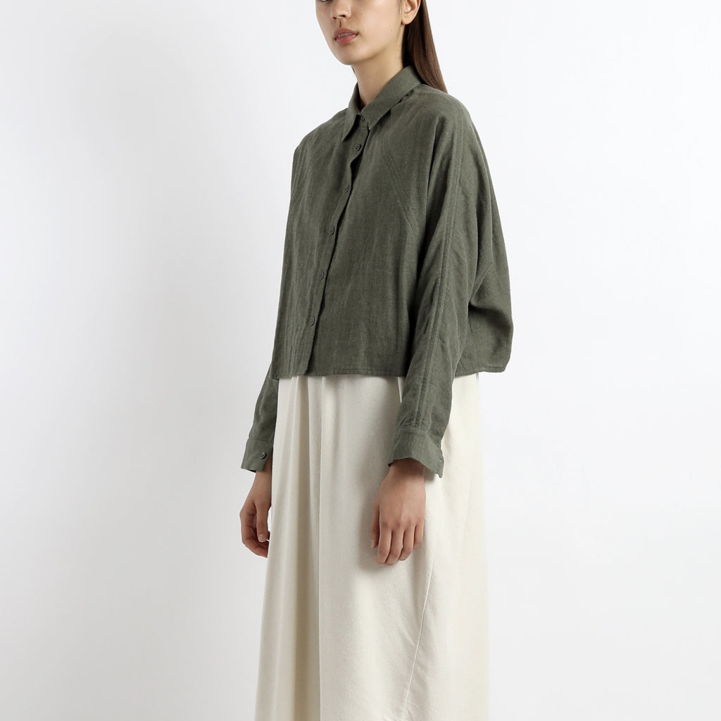 Signature 3/4 Cropped Shirt Jacket - Olive