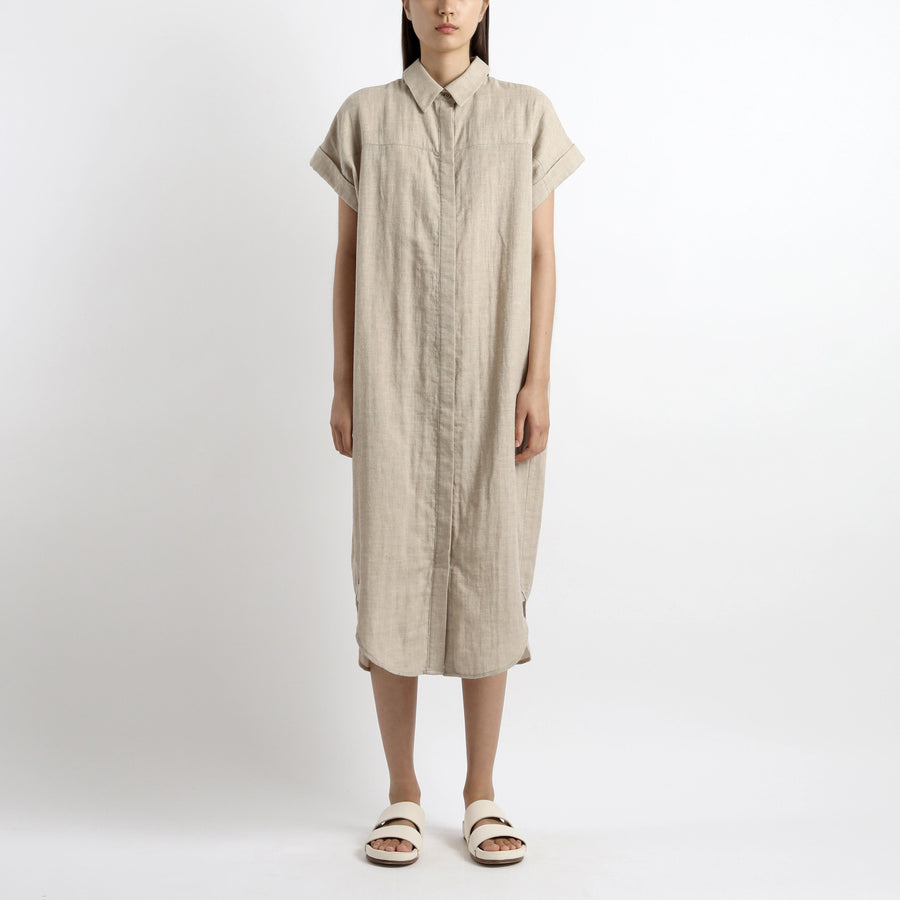 Signature Cotton Shirt Maxi - Oatmeal