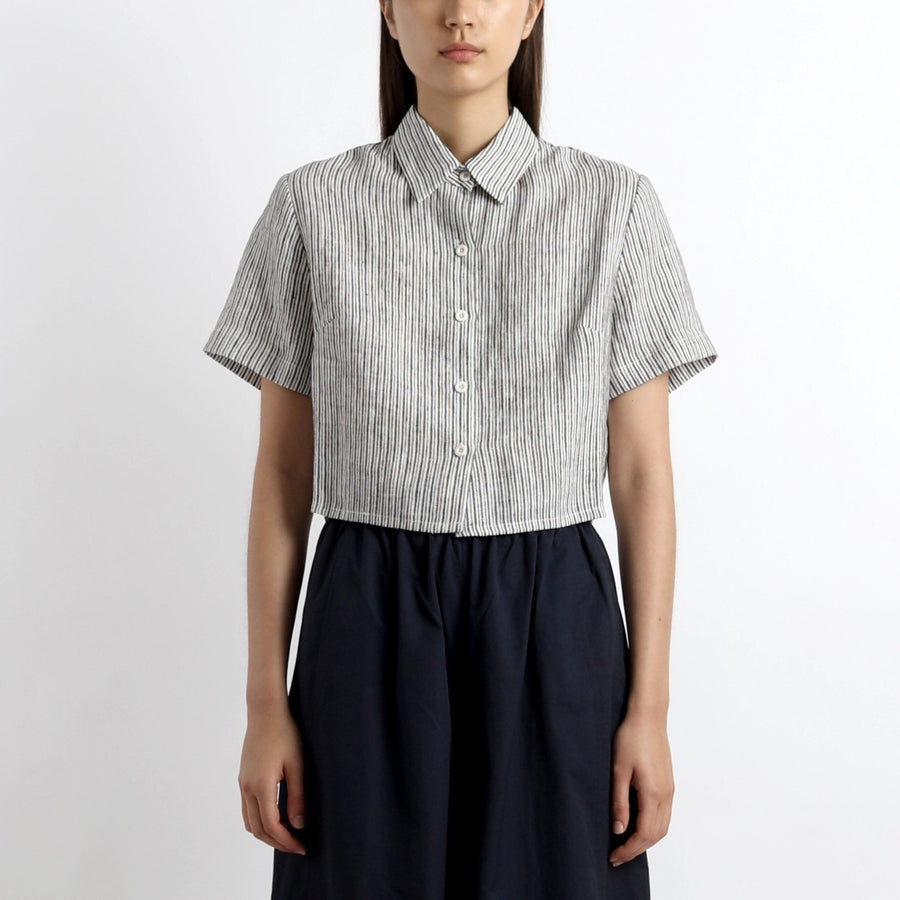 Striped Cropped Button Down - SS21 - Pinstripes
