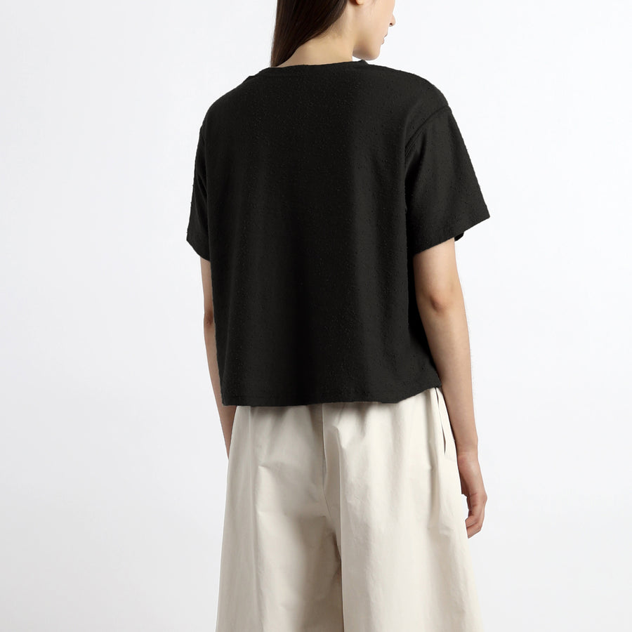 Signature Textured Linen Tee - Black