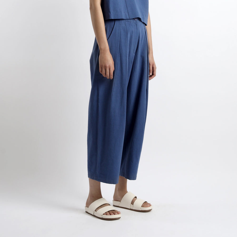 Canvas Pleated Trouser - SS21 - Cobalt Blue