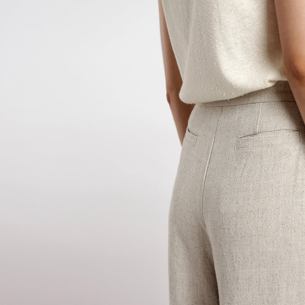 Signature Wide-Legged Trouser - Oatmeal