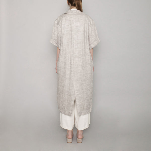 Short Sleeve Linen Long Coat - Beige - SS17