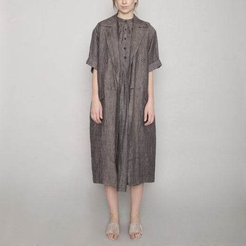Short Sleeve Linen Long Coat - Charcoal - SS17